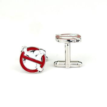 Funny Ghostbusters Logo Cufflinks Pin Wedding Decoration  jewelry For Men & Women Dress Shirt Cuff Buttons pins