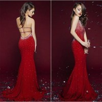 2016 Red Sexy Crystal Chiffon Open Back Vestidos De Fiesta Prom Evening Dress Floor Length Gorgeous Mermaid Prom Dresses
