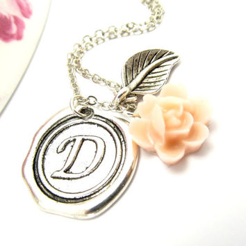 Bridesmaid Initial Stamped Pendant, Monogrammed Necklace, Custom Flower  Necklace, Antique Silver Wax Seal Pendant, Sterling Silver Chain