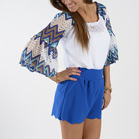 Fit And Flare Top, White/Blue