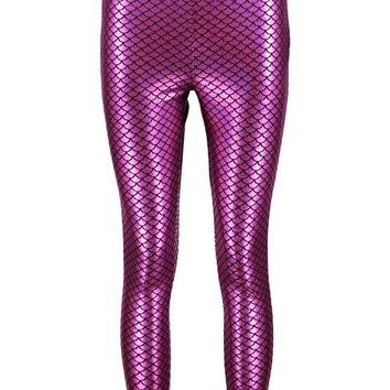Danika Mermaid Metallic Festival Leggings | Boohoo