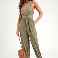 Lolinda Washed Olive Green Halter Jumpsuit