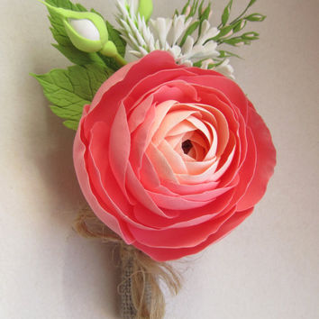 Coral, Peach boutonniere, boutonniere for the groom, coral ranunculus, peach ranunculus