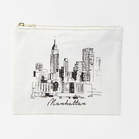 Manhattan Graphic Canvas Pouch