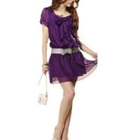 Allegra K Women Bowknot Decor Scoop Neck Chiffon Mini Dress Purple XS
