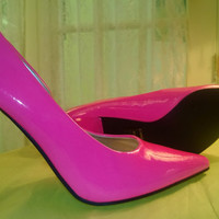 Womens WET SEAL hot neon pink high heels sz 6.5