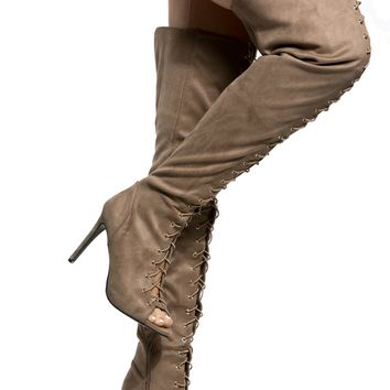 Taupe Faux Suede Lace Up Thigh High Heels @ Cicihot Heel Shoes online store sales:Stiletto Heel Shoes,High Heel Pumps,Womens High Heel Shoes,Prom Shoes,Summer Shoes,Spring Shoes,Spool Heel,Womens Dress Shoes