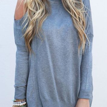Grey Patchwork Cut Out Off Shoulder Knit Pullover Sweater