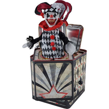 Animated Creepy Jester Jack-in-the-Box Toy 5 1/4in x 11in