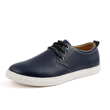 New Brand Spring Autumn Comfortable Men Flats Footwear Men Shoes Fashion Leather Casual Flats Man Loafers Sneakers Size 38-49