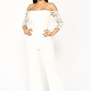Tamsin Crochet Jumpsuit - White