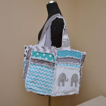 RAG PURSE, Diaper Bag, Elephant, Turquoise and Gray Made To Order