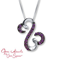 Open Hearts Necklace Amethyst Sterling Silver