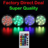 1pc 3AAA Battery Operated 16Colors 10 LEDs Waterproof Submersible LED Light With Remote Control for wedding decor
