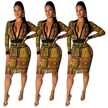VERSACE Fashion Women Long Sleeve V-Neck Dresses