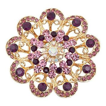ShinyJewelry Flower Shape Brooch Pins With Synthetic Crystal and Rhinestone For Wedding Bridal