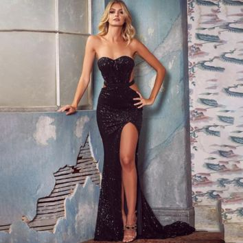 Sequin Goddess Cut Out Black Maxi Dress
