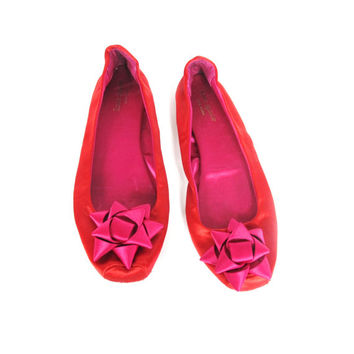 Kate Spade Satin Slippers Womens Ballet Flats Red Pink Bow Indoors (8)