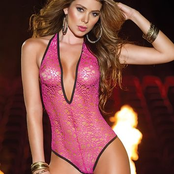 Pink Lace Fishnet Bodysuit : Cute Sexy Rave One Pieces and Costumes