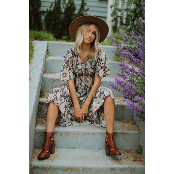 Antique Grey Maxi Floral Maxi