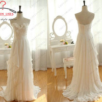 Ruffled beach bridal gown Bohemian wedding dress Ivory Chiffon Strapless Sweetheart  Prom Dress Floor Length Ruffles white evening dress