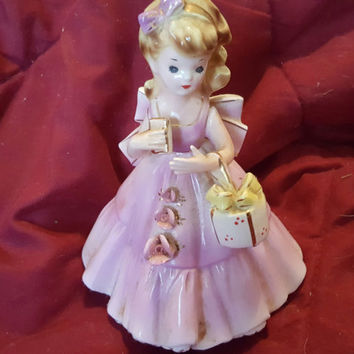 Lovely Blonde Maiden Figurine With Pink Bow, Dress and Holding a White Basket With Yellow Bow, Little Girls Room Decoration,