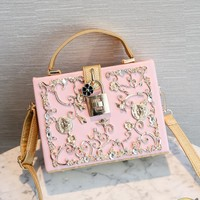 Luxury Women Box Bags Lock Hollow Out Carved Diamond Small Square Evening Party Bag Bride Shoulder Bags Clutches Handbasg Purses