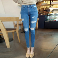 Blue Mid Waist Jeans Denim Ripped Skinny Women's Pencil Pants