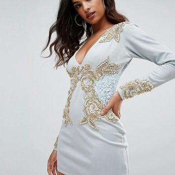 A Star Is Born Long Sleeve Heavily Embellished Dress With V Front at asos.com