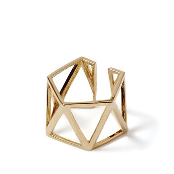 Gold Triangle Hexagon Ring