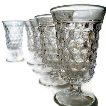 Vintage Fostoria American- Juice Glasses- Crystal- Set of 5-Stemware-Crystal Glass-Faceted Glass-Cube Pattern--Home Decor-Clear