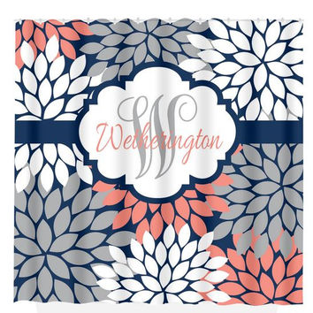 Navy Coral Gray SHOWER CURTAIN Custom MONOGRAM Personalized Bathroom Decor Flower Burst Pattern Beach Towel Plush Bath Mat Made in the Usa