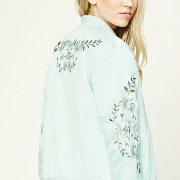 Floral Embroidered Satin Bomber