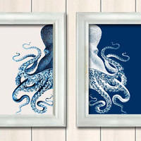 Set of 2 Octopus Prints Blue And White Nautical by NauticalNell