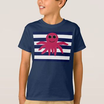 Cute Little Octopus Drawing & Blue & White Stripes T-Shirt