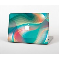 The Vivid Turquoise 3D Wave Pattern Skin Set for the Apple MacBook Air 11""