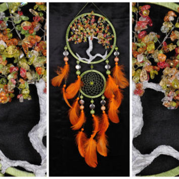 Orange olive Dream Catcher Tree of life Dreamcatcher quartz Dream сatcher orange olive quartz wall handmade gift Valentine's Day orange gift