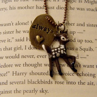 Severus Snape Always Necklace. Doe Charm. Harry Potter Inspired. 18 Inch Chain.