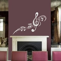 Housewares Vinyl Decal Treble Clef With Music Notes Pattern Home Wall Art Decor Removable Stylish Sticker Mural Unique Design for Room 450