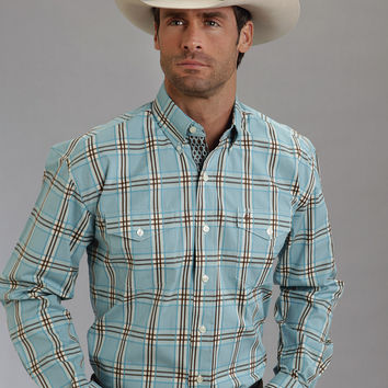 Stetson Mens Gate Plaid On Flat Weave W/satin Strp  I Long Sleeve Shirt Button Closure - 2 Pocket