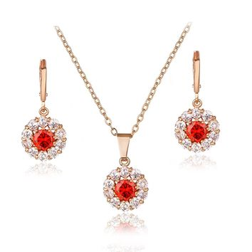 Modbridal Shining AAA Cubic Zirconia CZ Round Halo Pendant Necklace and Earrings Jewelry Sets for Valentine's Day Gifts