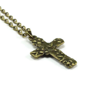 Bronze Cross with Flowers Necklace