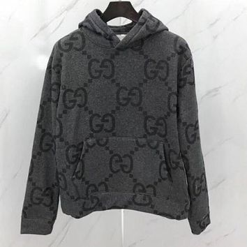 GUCCI Autumn Winter Women Men Loose Double G Letter Print Velvet Thick Pure Cotton Long Sleeve Lovers Hooded Sweatshirt Sweater Top Dark Grey I12367-1