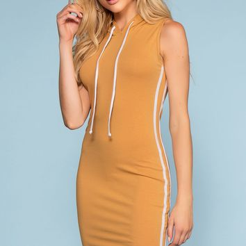 Tamil Bodycon Track Dress - Camel