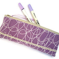 Zipper pouch/ Pencil case/ Writing case/ Small cosmetic bag/  Handmade fabric pencil holder/ purple color with cotton lace
