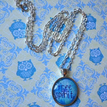 Hippie bohemian free spirit quote round glass dome necklace for kids, tween or teen girl