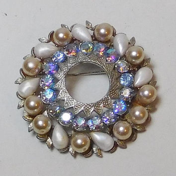 Rhinestone Pearl Brooch, Silver Tone, Brushed Metal, Large Round, Blue Rhinestones, Aurora Borealis, Signed, Makers Mark, Vintage
