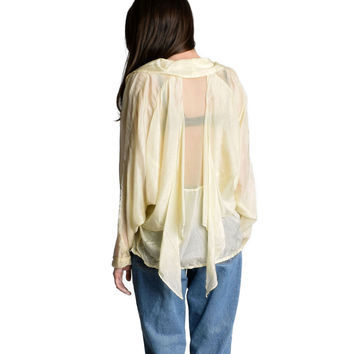 Vintage Draped Cream Silk Blouse