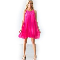 Wild Child Hot Pink Pleated Dress