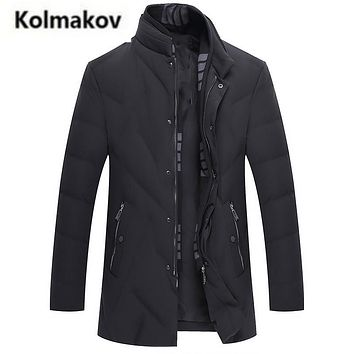 KOLMAKOV 2017 new winter men's high quality fashion Scarf collar casual warm down jacket,90% white duck down coats parkas,M-3XL.